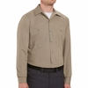 SP14KB Long Sleeve Khaki/Black Geometric Microcheck Work Shirt