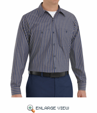 SP14KN Long Sleeve Navy/Khaki Stripe Industrial  Work Shirt