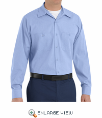 SP14ML Med Blue with Blue Twin  Durastripe ™ Long Sleeve Work Shirt