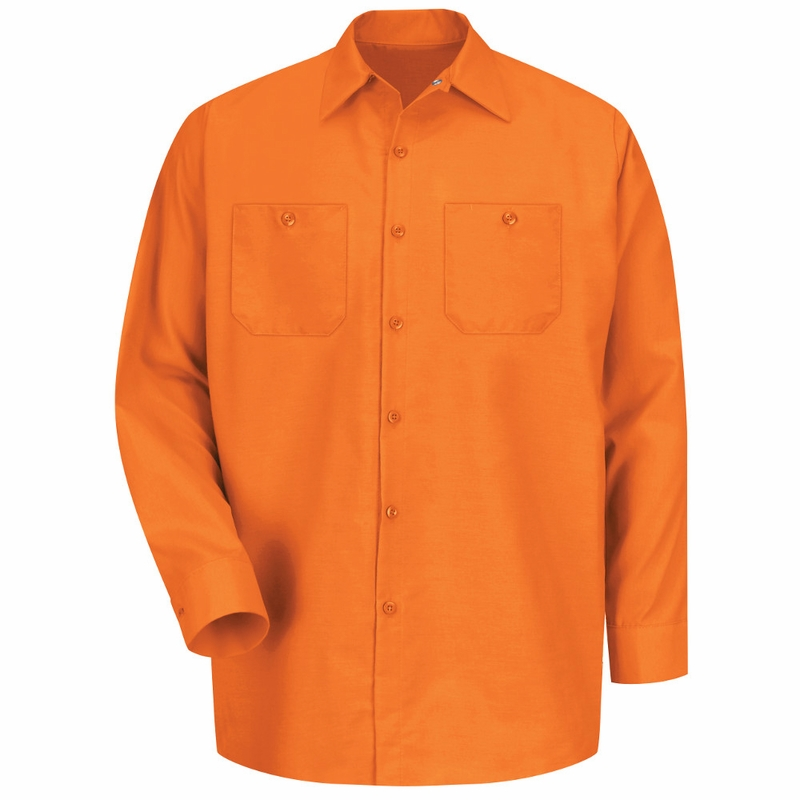 Men's Orange Long Sleeve Industrial Work Shirt