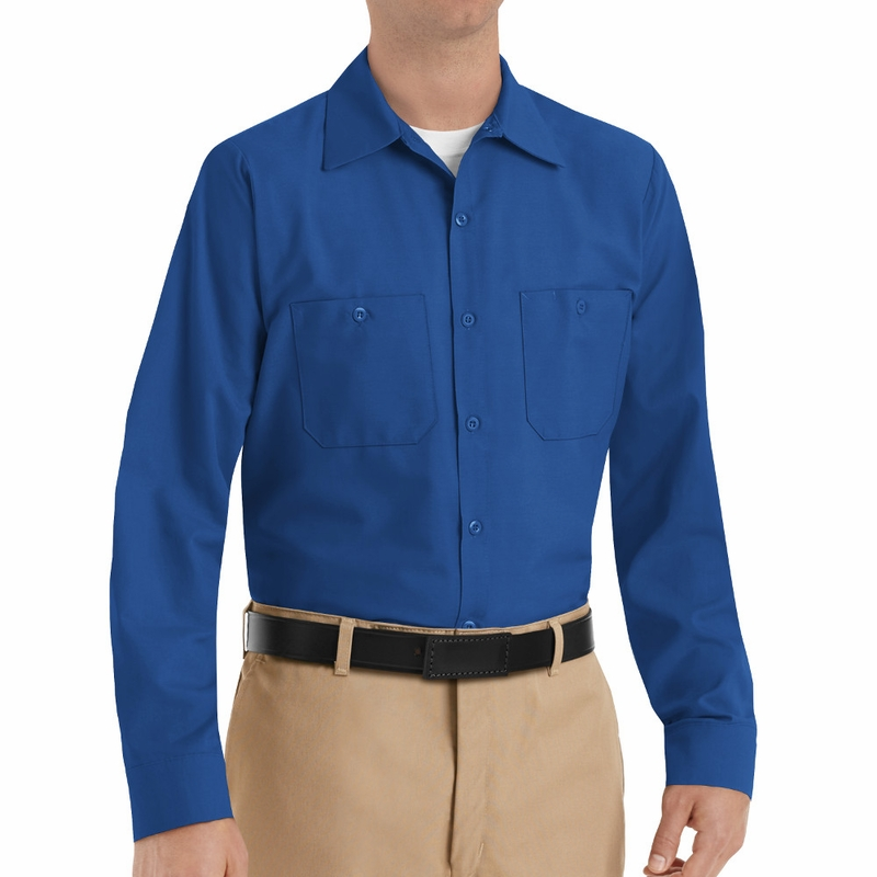 Sp14rb men 39 s royal blue long sleeve industrial work shirt for Blue and white long sleeve shirt