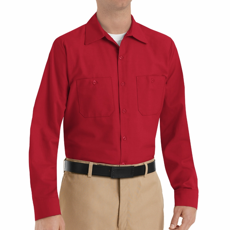 SP14RD Men s Red Long Sleeve Industrial Work Shirt e7cccbd2d52