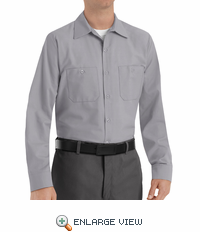 SP14SV Men's Silver Gray Long Sleeve Industrial Work Shirt