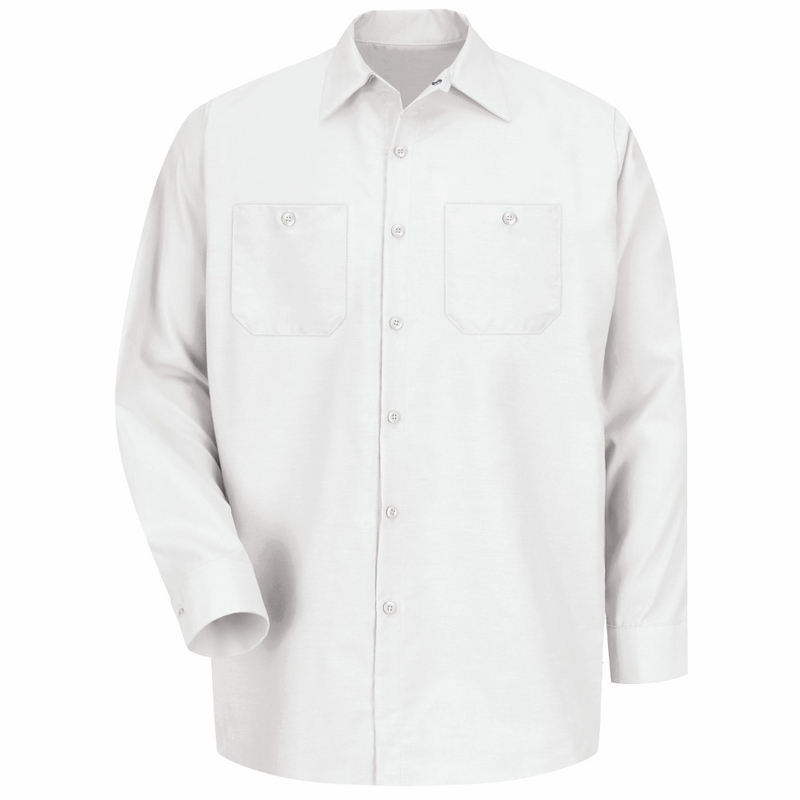 Men's White Long Sleeve Industrial Work Shirt