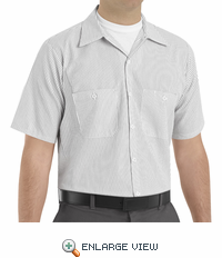 SP20CW Short Sleeve Charcoal/White Stripe Industrial  Work Shirt