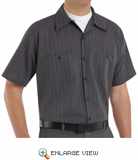 SP20GI Short Sleeve Charcoal/Blue/White Stripe Industrial Work Shirt