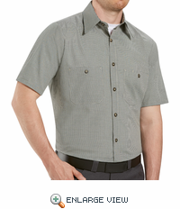 SP20HK Short Sleeve Hunter-Green/Khaki Micro-Check Work Shirt