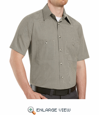 SP20KB Short Sleeve Khaki/Black Micro-Check Work Shirt