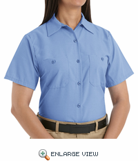 SP23LB Women's Solid Light Blue Short Sleeve Industrial Work Shirt