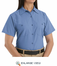 SP23MB Women's Solid Medium Blue Short Sleeve Industrial Work Shirt