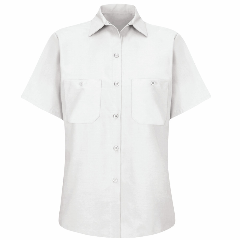 Women's Solid White Short Sleeve Industrial Work Shirt