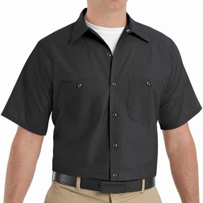 SP24BK Men's Black Short Sleeve Industrial Work Shirt