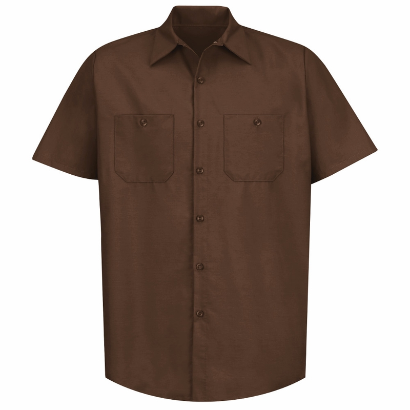 Sp24cb men 39 s chocolate brown short sleeve industrial work for Mens chocolate brown dress shirt