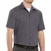SP24GB Short Sleeve Blue/Charcoal Geometric Microcheck Work Shirt
