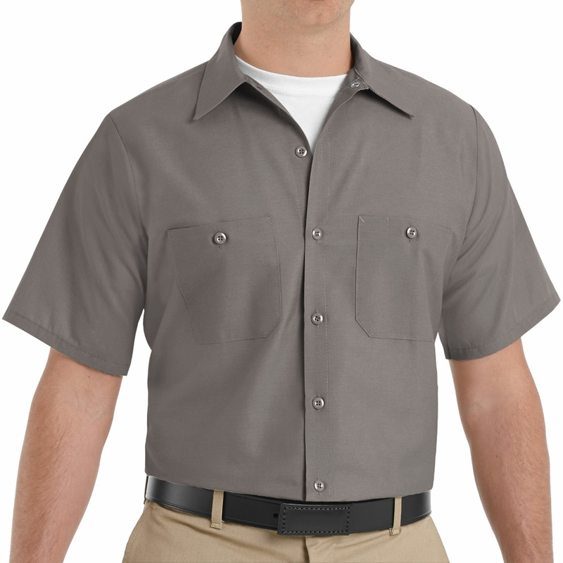 48f233301 SP24GY Men s Grey Short Sleeve Industrial Work Shirt