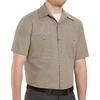 SP24KB Short Sleeve Khaki/Black  Geometric Microcheck Work Shirt