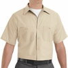 SP24LT Men's Light Tan Short Sleeve Industrial Work Shirt