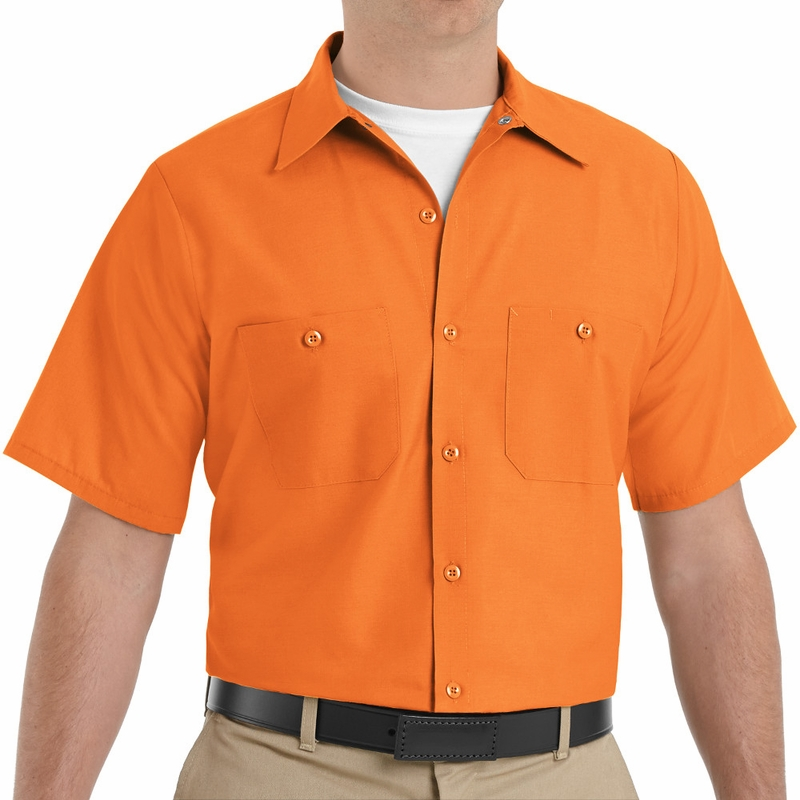 23d9910b1 SP24OR Men s Orange Short Sleeve Industrial Work Shirt