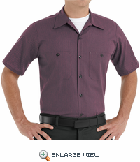 SP24RC Charcoal/Red Twin Stripe DuraStripe Short Sleeve Work Shirt