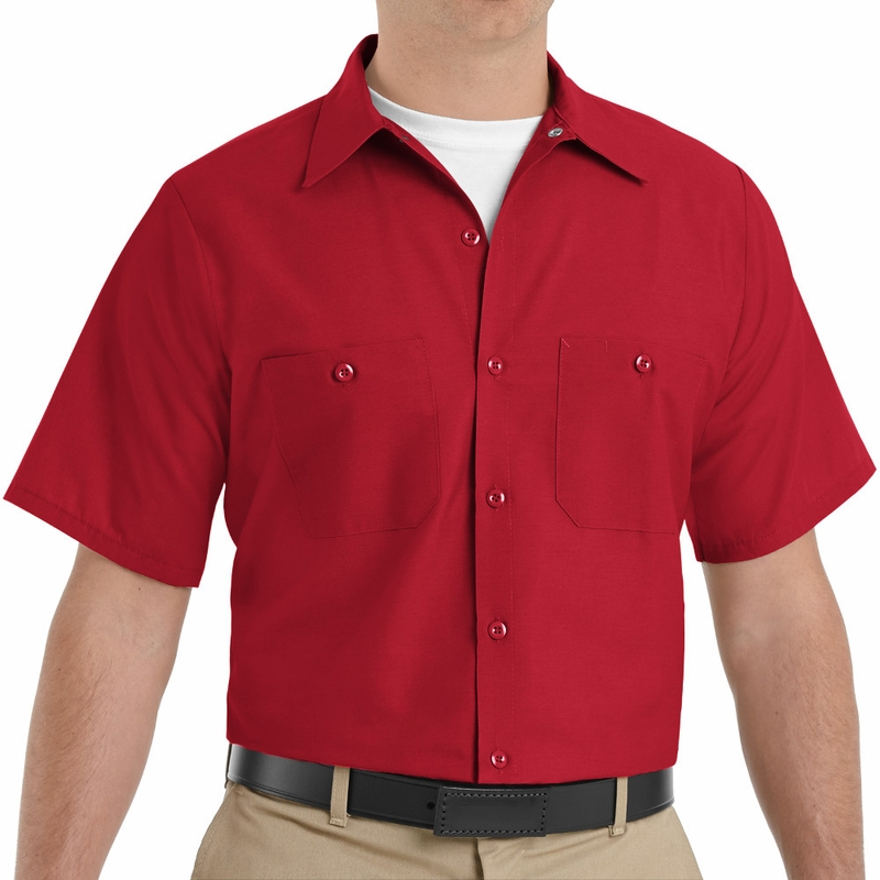 645ef6d9468 SP24RD Men's Red Short Sleeve Industrial Work Shirt