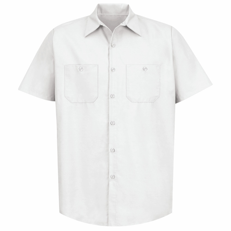 Men's White Short Sleeve Industrial Work Shirt
