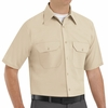 SP60LT Short Sleeve Light Tan Poplin Solid Dress Uniforms Shirt