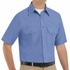 SP60MB Short Sleeve Petrol Blue Poplin Solid Dress Uniforms Shirt