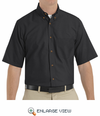 SP80BK Men's Black Short Sleeve Button Down Poplin Shirts