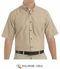 SP80KH Men's Khaki Short Sleeve Button Down Poplin Shirts