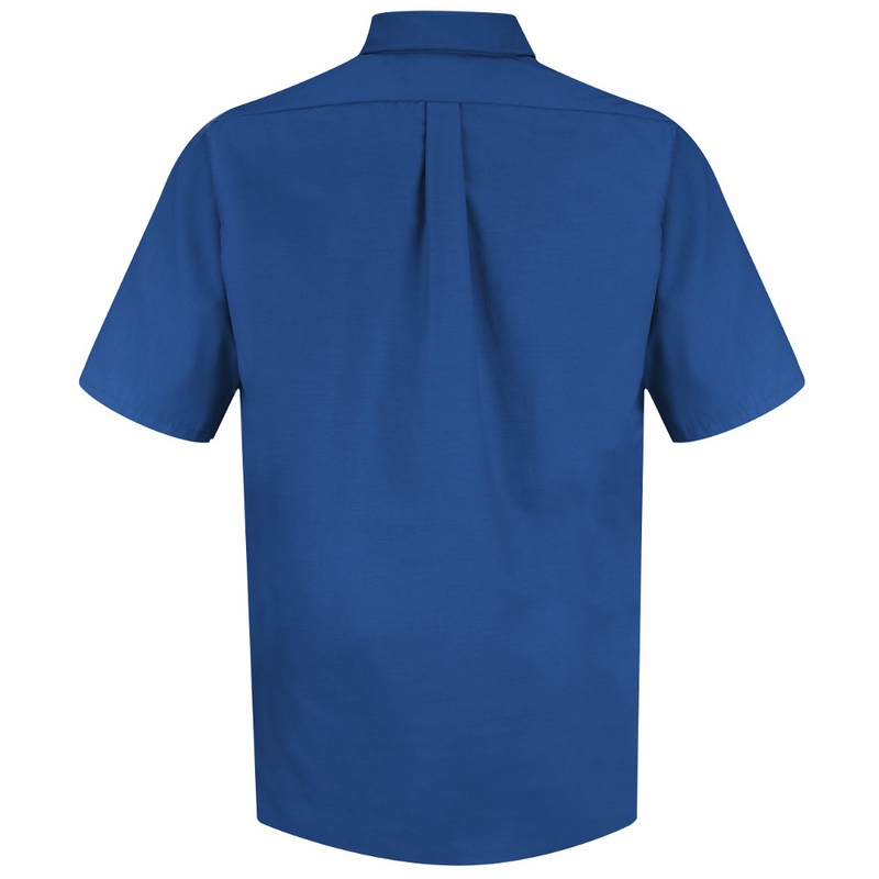 Sp80rb men 39 s royal blue short sleeve button down poplin shirts for Royals button up shirt