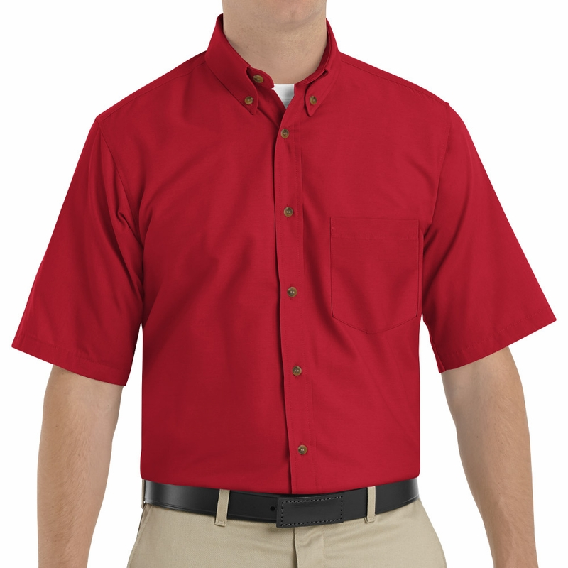 8b2a18ec18f SP80RD Men's Red Short Sleeve Button Down Poplin Shirts