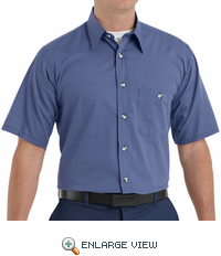 SP84GB Short Sleeve Gray/Blue Mini-Plaid Work Shirt