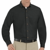 SP90BK Men's Black Long Sleeve Button Down Poplin Shirts