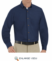 SP90NV Men's Navy Long Sleeve Button Down Poplin Shirts