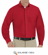 SP90RD Men's Red Long Sleeve Button Down Poplin Shirts