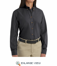 SP91BK Women's Black Long Sleeve Button Down Poplin Shirts