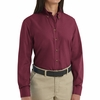 SP91BU Women's Burgundy Long Sleeve Button Down Poplin Shirts