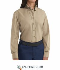 SP91KH Women's Khaki Long Sleeve Button Down Poplin Shirts