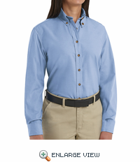 SP91LB Women's Light Blue Long Sleeve Button Down Poplin Shirts