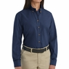 SP91NV Women's Navy Long Sleeve Button Down Poplin Shirts