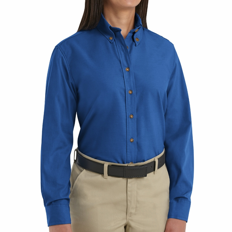 Sp91rb women 39 s royal blue long sleeve button down poplin for Womans long sleeve shirts