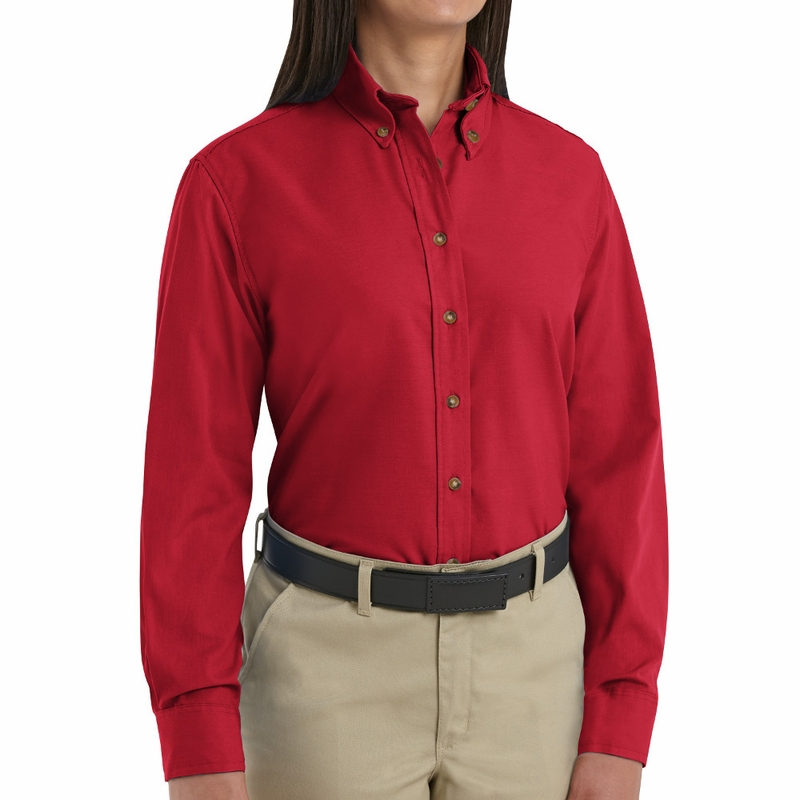 Sp91rd women 39 s red long sleeve button down poplin shirts for Women s short sleeve button down cotton shirts