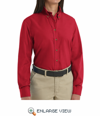 SP91RD Women's Red Long Sleeve Button Down Poplin Shirts