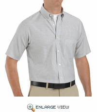 SR60GS Short Sleeve Grey/White Men's Executive Button-Down Shirt