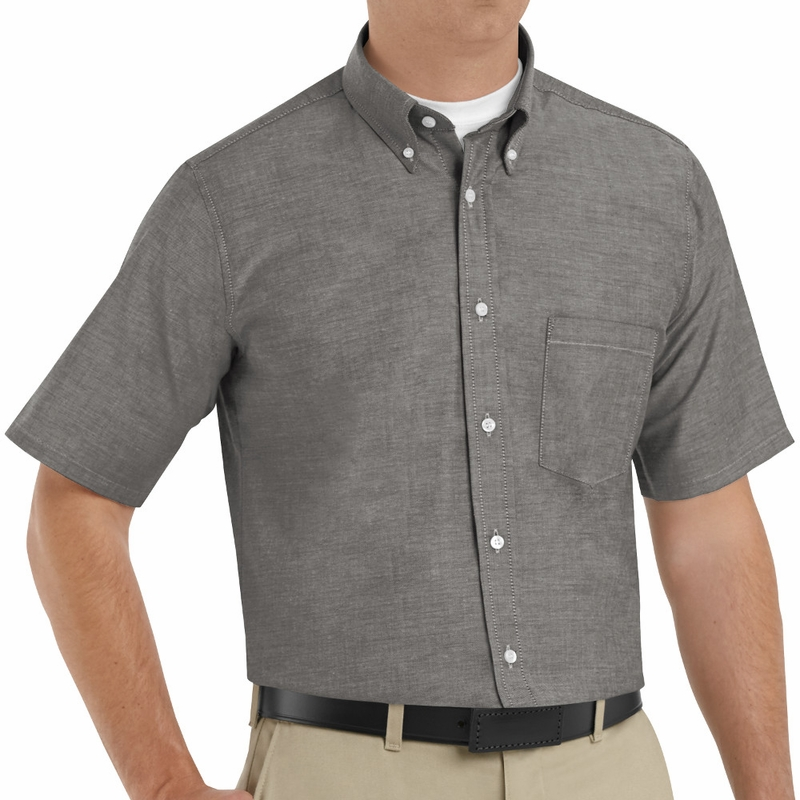 Sr60gy short sleeve solid grey men 39 s executive button down for Grey button down shirt