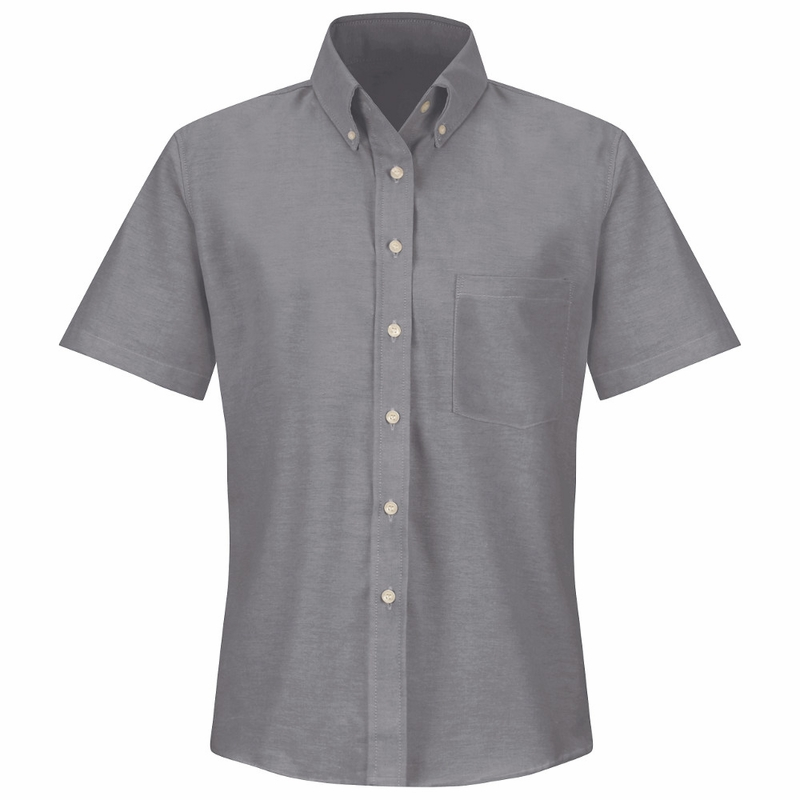 Sr61gy short sleeve women 39 s solid gray executive button for Women s short sleeve button down cotton shirts