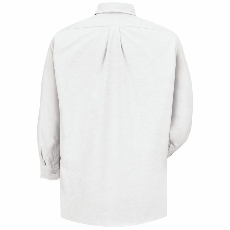 Sr70wh long sleeve men 39 s white executive button down shirt for Oxford long sleeve button down shirt