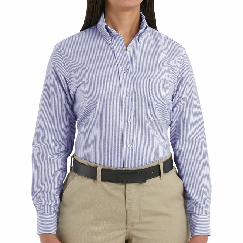 SR71BS Long Sleeve Women's Blue/White Stripe Executive Button-Down ...