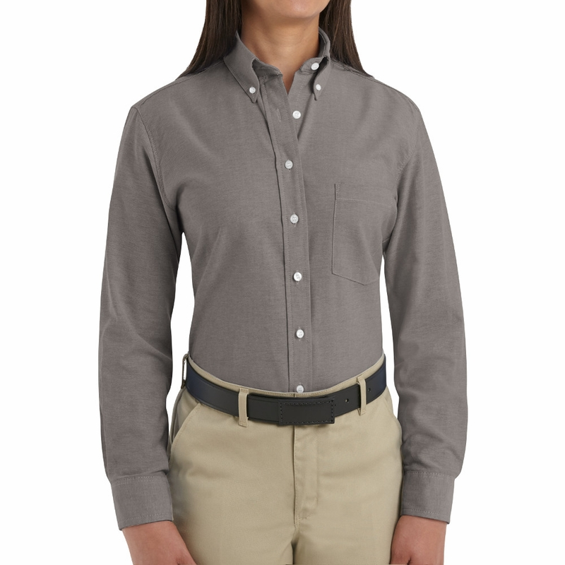 SR71GY Long Sleeve Women's Solid Gray Executive Button-Down Shirt