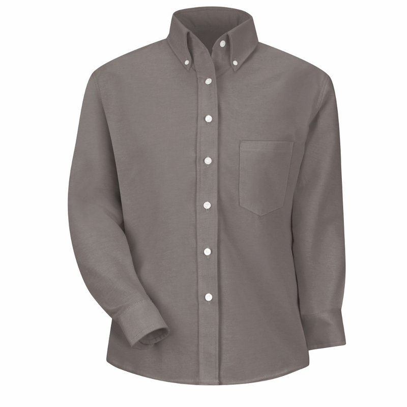 Sr71gy long sleeve women 39 s solid gray executive button for Grey button down shirt